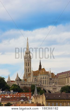 View on the Matthias Church and the Buda side of Budapest, Hungary