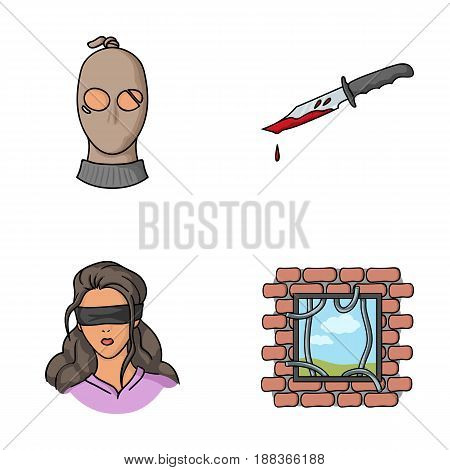A thief in a mask, a bloody knife, a hostage, an escape from prison.Crime set collection icons in cartoon style vector symbol stock illustration .