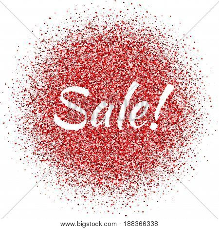 Red dust with Sale sign. Glitter. Sale shimmer. Sparkling text.