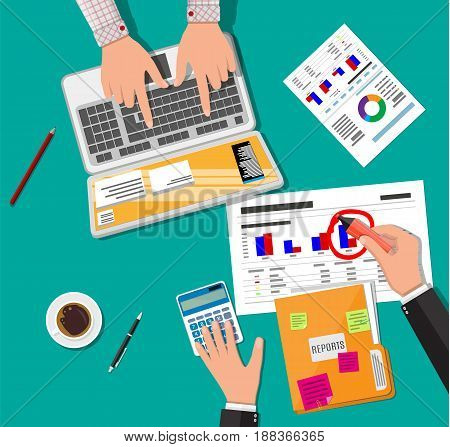 Hands with laptop and calculator, analysis of financial report. Financial audit concept. Calculation. Auditing tax process. Business background. Vector illustration in flat design