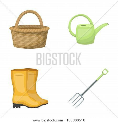 Basket wicker, watering can for irrigation, rubber boots, forks. Farm and gardening set collection icons in cartoon style vector symbol stock illustration .