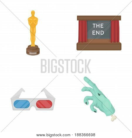 Award Oscar, movie screen, 3D glasses. Films and film set collection icons in cartoon style vector symbol stock illustration .