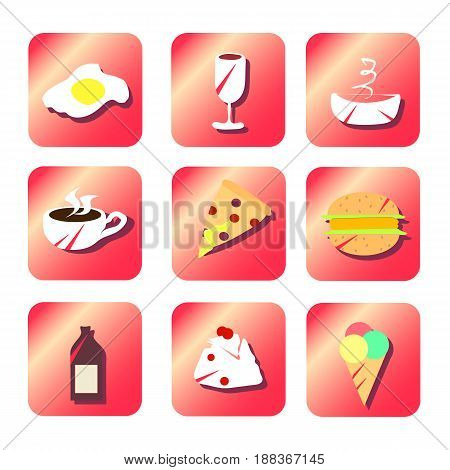 Red flat icons with food and drink objects.