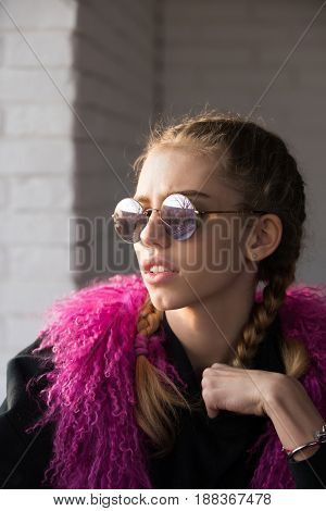 Girl With Plaits In Sunglasses
