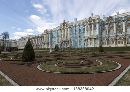 Saint Petersburg, Russia,may 07, 2017: The Great Catherine Palace in the suburbs of St. Petersburg, Pushkin.