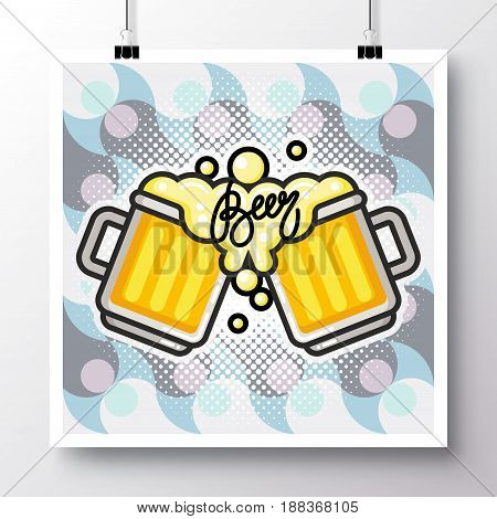 Poster with icon Beer mugs on a vintage pattern background. Vector illustration for wallpaper flyers invitation brochure greeting card menu.