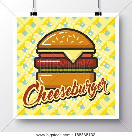 Poster with icon cheeseburger on a vintage pattern background. Vector illustration for wallpaper flyers invitation brochure greeting card menu.