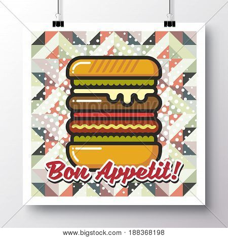 Poster with icon hamburger and phrase-Bon Appetit on a vintage pattern background. Vector illustration for wallpaper flyers invitation brochure greeting card menu.