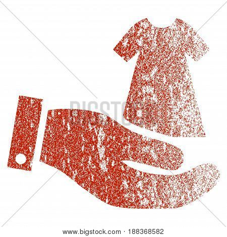 Lady Dress Offer Hand grunge textured icon for overlay watermark stamps. Flat symbol with dust texture. Textured vector red rubber seal stamp with grunge design on a white background.