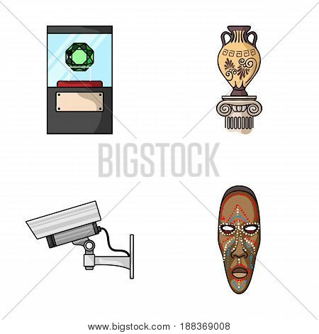 A diamond, a vase on a stand, a surveillance camera, an African mask. Museum set collection icons in cartoon style vector symbol stock illustration .