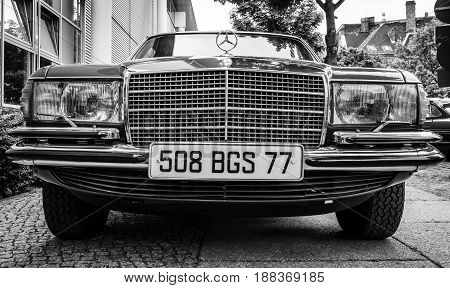 BERLIN GERMANY - MAY 17 2014: Full-size luxury car Mercedes-Benz 450SEL (W116). Black and white. 27th Oldtimer Day Berlin - Brandenburg