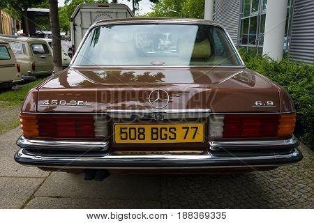 BERLIN GERMANY - MAY 17 2014: Full-size luxury car Mercedes-Benz 450SEL (W116). Rear view. 27th Oldtimer Day Berlin - Brandenburg