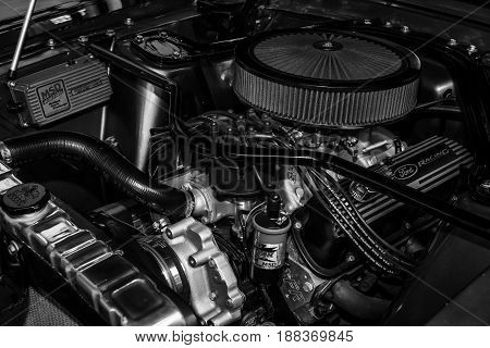 BERLIN GERMANY - MAY 17 2014: Boss 302 engine for high-performance variant of the Ford Mustang (1969). Black and white. 27th Oldtimer Day Berlin - Brandenburg