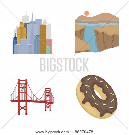 A megacity, a grand canyon, a golden gate bridge, donut with chocolate. The US country set collection icons in cartoon style vector symbol stock illustration .