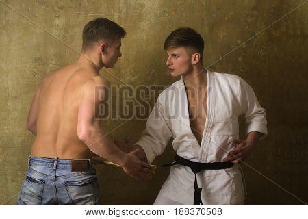 Men Twins Training Karate