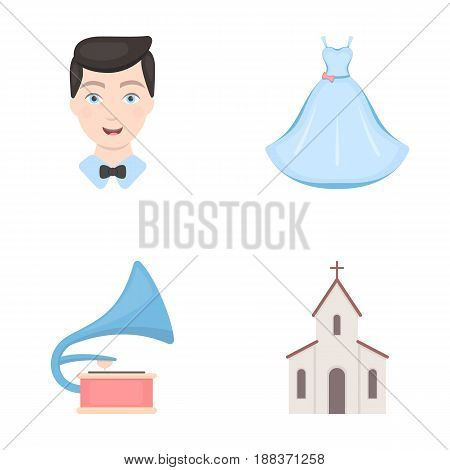 Wedding dress, groom, gramophone, church. Wedding set collection icons in cartoon style vector symbol stock illustration .
