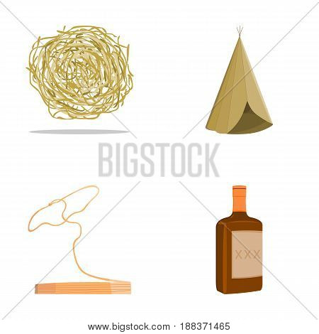 Roll-field, Indian wigwam, lasso, whiskey bottle. Wild West set collection icons in cartoon style vector symbol stock illustration .