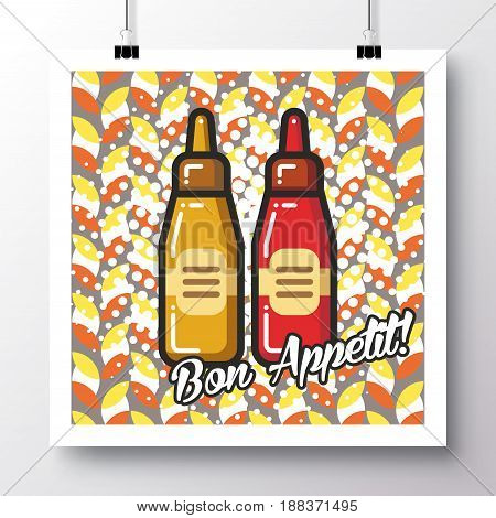 Poster with icon ketchup and mustardand and phrase-Bon Appetit on a vintage pattern background. Vector illustration for wallpaper flyers invitation brochure greeting card menu.