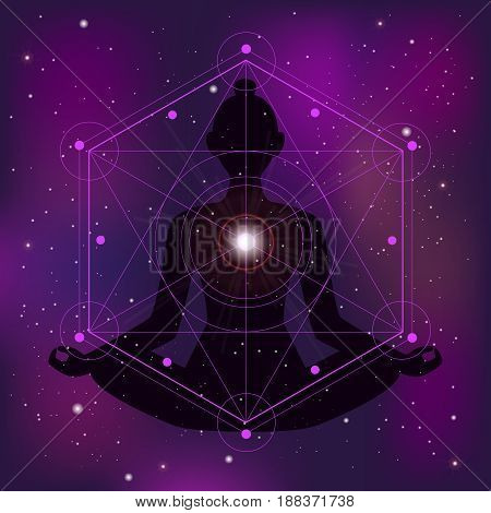 Sacred geometry zen background with meditating woman silhouette flat vector illustration