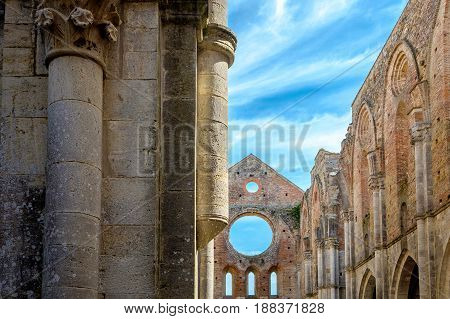 Ancient abbey in Tuscany Italy. It located about thirty kilometers from the medieval city of Siena