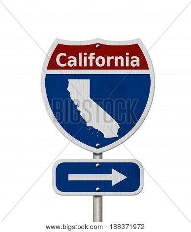 Road trip to California Red white and blue interstate highway road sign with word California and map of California isolated over white 3D Illustration
