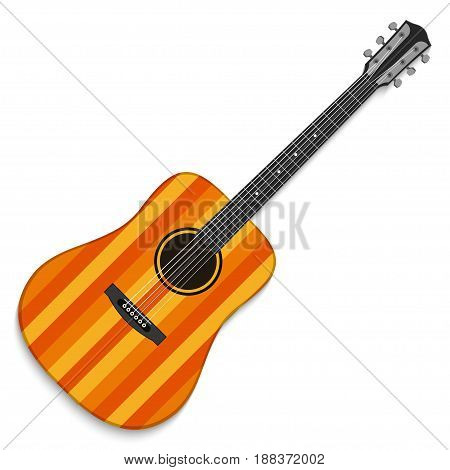 Musical instrument. Acoustic guitar isolated on white background. Vector illustration