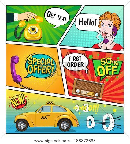 Advertising of taxi service comic book page including speech bubbles discounts, woman with phone, radio vector illustration