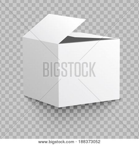 Blank box on transparent background with shadow