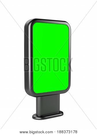 Vertical blank outdoor stand banner green screen. Lightbox. 3d Illustration isolated on a white background.