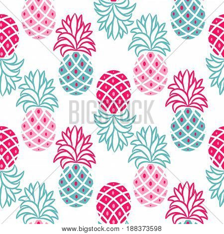 Pineapple pink and blue seamless vector pattern. Ananas seamless surface texture design for apparel, fabric and paper print.