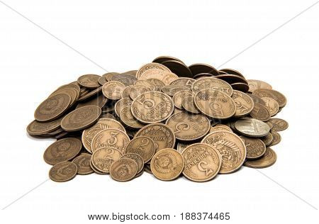 Retro coins collection ussr on white background