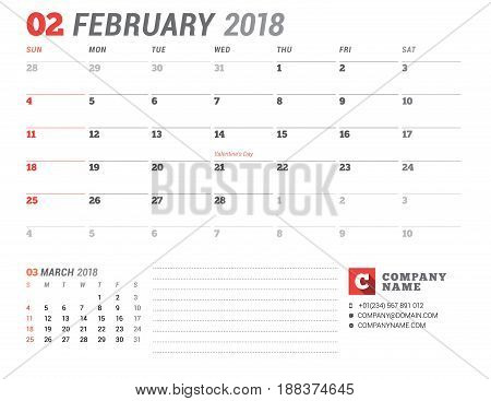 Calendar Template For 2018 Year. February. Business Planner Template. Stationery Design. Week Starts