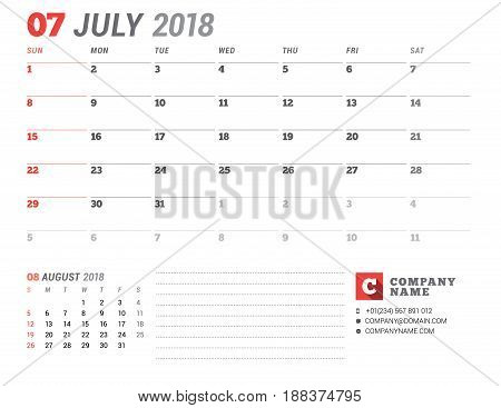 Calendar Template For 2018 Year. July. Business Planner Template. Stationery Design. Week Starts On