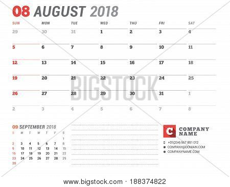 Calendar Template For 2018 Year. August. Business Planner Template. Stationery Design. Week Starts O