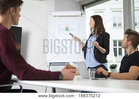 Young female professional explaining graph to male colleagues in office