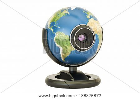 Global communication concept Earth globe webcam. 3D rendering