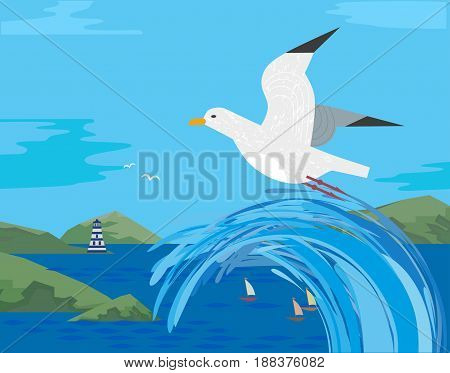 Sea gull flying. Freehand cartoon style. Seabird marine symbol. Stylized nautical animal sign. Blue ocean waves green mountains. Seaside scenic element for banner background. Vector illustration