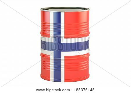 Oil barrel with flag of Norway. Oil production and trade concept 3D rendering