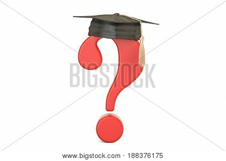 Question mark with graduation cap 3D rendering