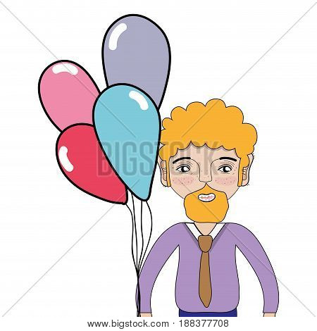 man with beard and balloons in the hand, vector illustration