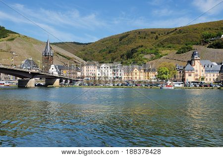 City View of Bernkastel-Kues at the Moselle with Bridge