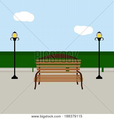 Bench and streetlight, park, rest vector illustration