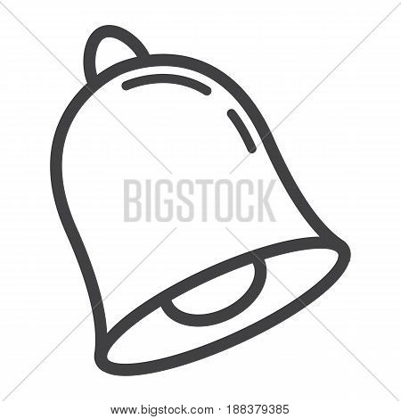 School bell line icon, ring and school, vector graphics, a linear pattern on a white background, eps 10.