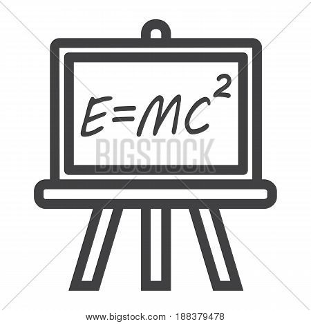 Blackboard line icon, chalkboard and school, vector graphics, a linear pattern on a white background, eps 10.