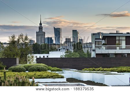 Warsaw skyscrapers panoramic view during sunset Poland