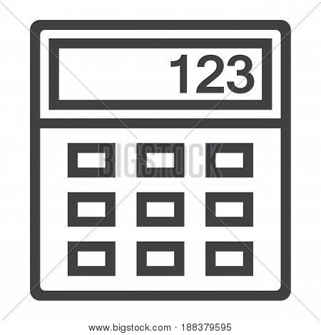Calculator line icon, business and mathematics, vector graphics, a linear pattern on a white background, eps 10.