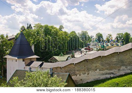 Ortodox cathedral. Pskov-Pechersky Monastery. Pechory, Pskov, Russia