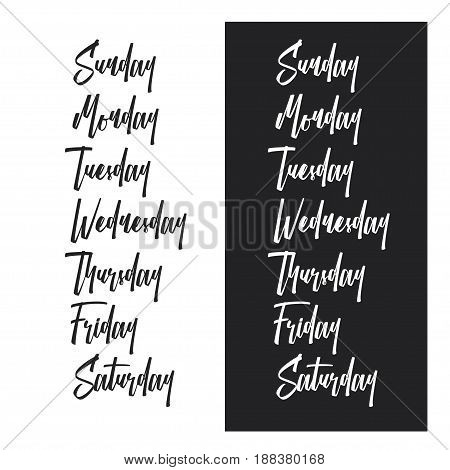 Days of the week typography set. Retro lettering composition. Isolated on white and black background. Vector vintage illustration.