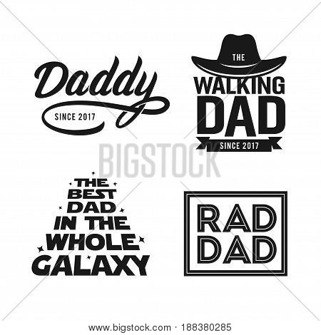 Fathers day gift for dad t-shirt design set. Funny quotes about daddy for prints, posters. Vector vintage illustration.