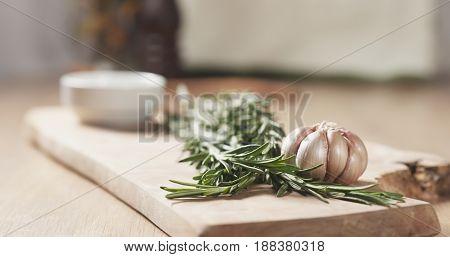 herbs for beef steak on board, wide photo